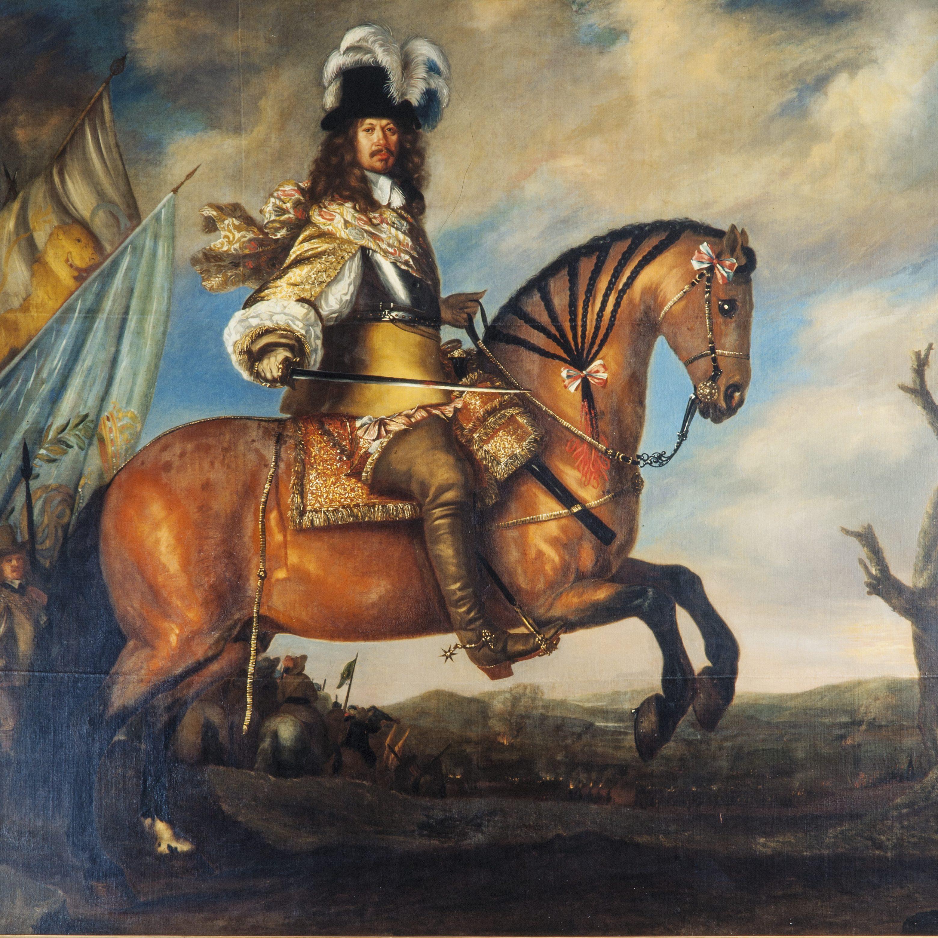 Carl-Gustaf Wrangel ridandes på en häst.